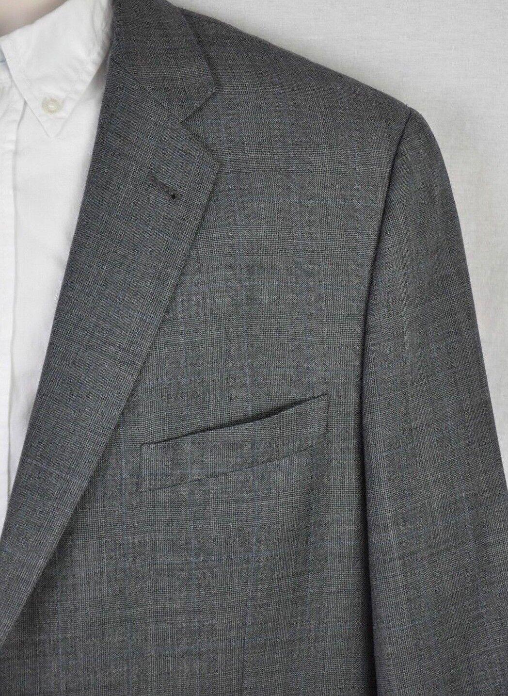 46R Joseph Abboud Nordstrom Blk bluee Plaid Super120s Wool 2Btn 2Vent Blazer USA