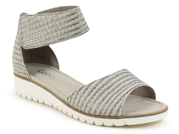 Gabor Grau Metallic Ankle Strap Comfort Sandale Damens Größes 6.5,8.5,9,10 NEU