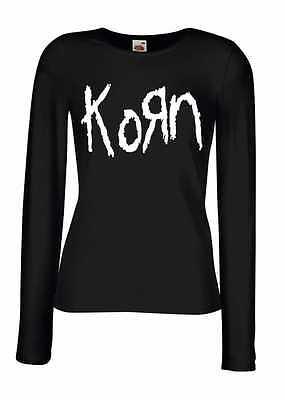 KORN LOGO Lady Long Sleeve Black T-shirt Woman Rock Band Tee