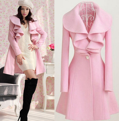 Women/'s Long Sleeve Turn-down Collar Trench Coat Jacket Outwear One Button Tops