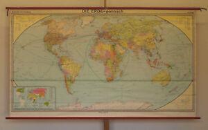 Details zu Wandkarte schöne alte politische Weltkarte 246x142cm vintage  world map 1980 1992