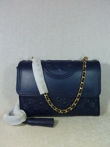 3afa37590a4 Image is loading NWT-Tory-Burch-Royal-Navy-Leather-Fleming-Convertible-