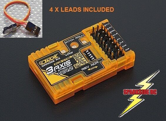 Estabilizador De Vuelo 3-Axis NaranjaRX RX3S V2 (V2.1 firmware) Inc 4 plomos vendedor del Reino Unido