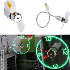 Mini Flexible Gooseneck LED Clock USB Fan For PC Notebook Time Display Cool CU
