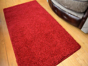 Image Is Loading Thick Rug Plain Soft Red Gy Washable Bedroom