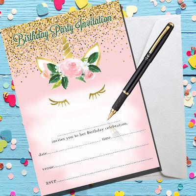Write your own 8 x Unicorn Party Invitations Girls Birthday