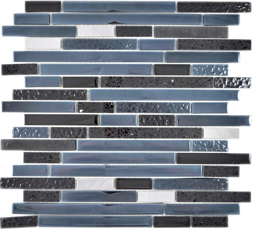 Komposit Edelstahl Mosaik Verbund Glasmosaik Stahl schwarz 87-0322_f 10Matten