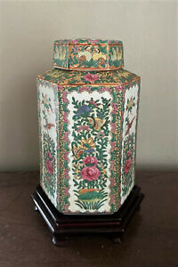 Antique-Signed-Chinese-Porcelain-Famille-Rose-Hexagonal-Jar-w-Stand-16-034
