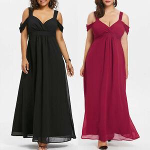Details about Fashion Women Chiffon Cold Shoulder V-Neck Plus Size Empire  Waist Maxi Dress