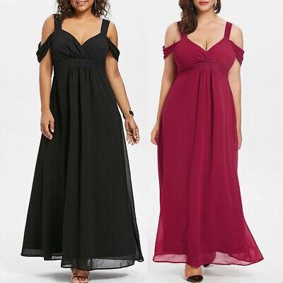 Fashion Women Chiffon Cold Shoulder V-Neck Plus Size Empire Waist Maxi  Dress   eBay