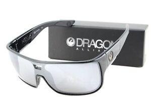 NEW-Genuine-DRAGON-HEX-Shiny-Black-Silver-Ionized-Lens-Men-Sunglasses-DR-009
