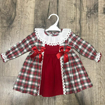 Girls Spanish Romany Dress with red white tartan Bow /& Frills Age 6 /& 12Mths