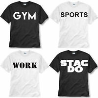 CUSTOM PRINT YOUR OWN DESIGN T-SHIRT MENS LOGO personalised TEE WORK STAG DO