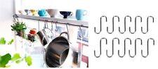 Ikea BYGEL 10 S Hooks For Hanging Rail Pot Pan Hanger Utensil Garage Shed Garden