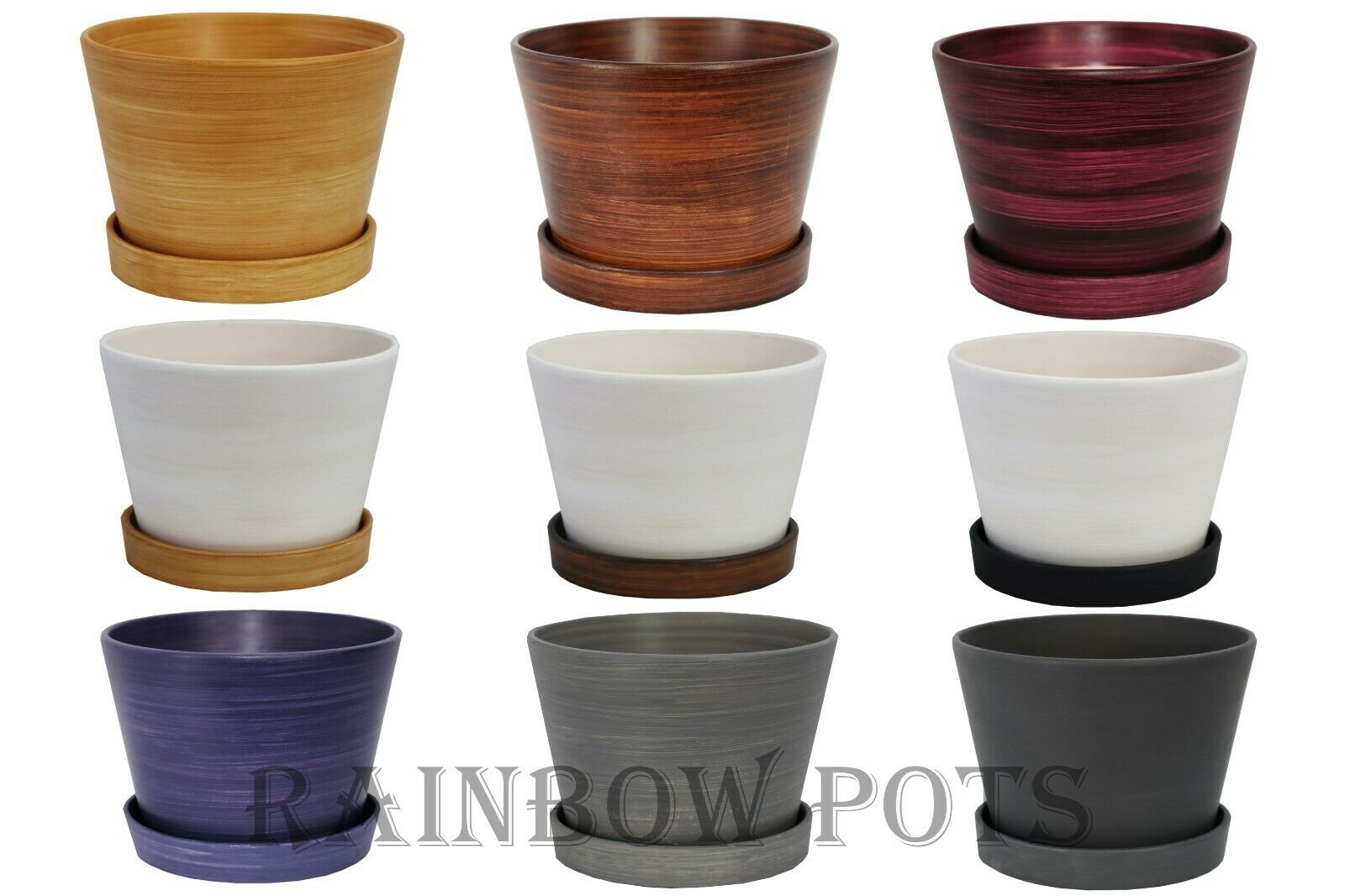 CERAMIC PLANT POTS WITH SAUCER LARGE AND SMALL SIZE HAND PAINTED PLANTER BONSAI
