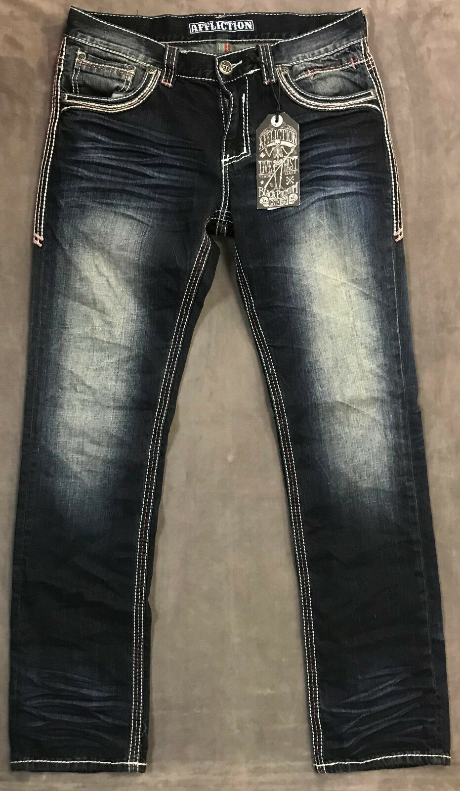 NEW AFFLICTION JEANS MENS ACE STRAIGHT FLEUR IN TULSA SZ 32