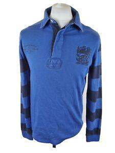 Homme-Joules-Manches-Longues-Rugby-Polo-Shirt-bleu-petit-40-tour-de-poitrine