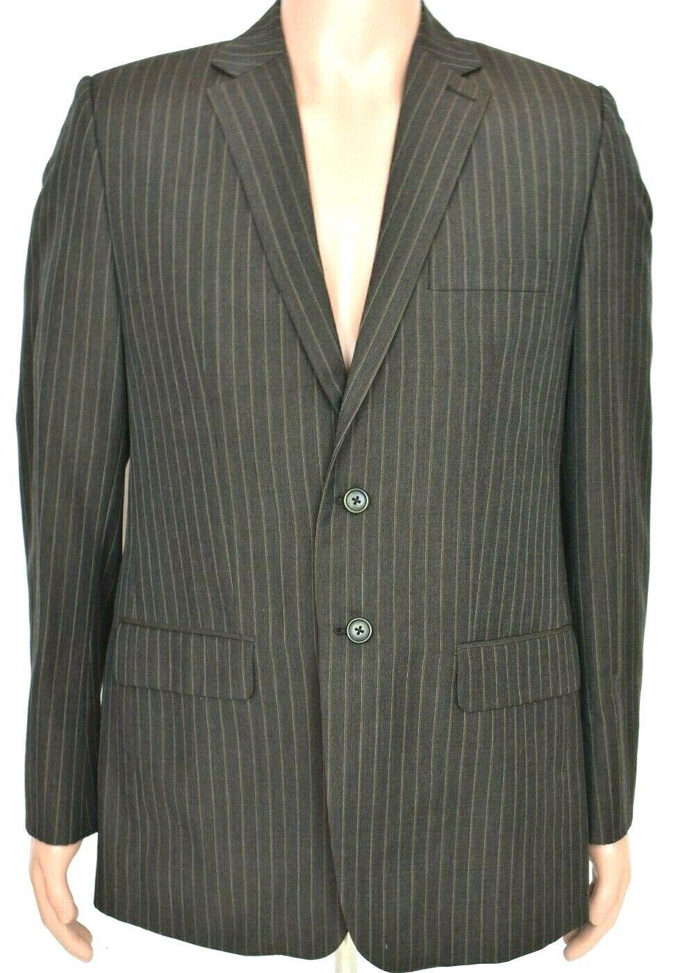 Luigi Ravelli Mens Brown Striped Blazer Size 38 R 100 % Pure New Wool Two Button