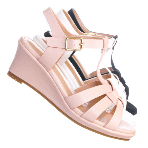 Tuna37K Kids Gladiator Wedge Heel Sandal Children Girl T-Strap Open Toe Shoe