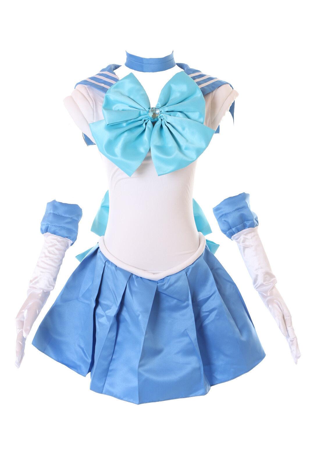 H-6004 Crystal Merkur Ami Sailor Moon Blau Weiß Cosplay Kostüm Kleid Set costume | Ausgezeichnete Leistung