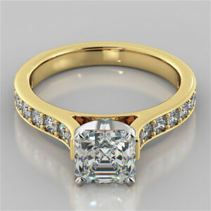 2.32 Ct Asscher Cut Moissanite Anniversary Ring 18K Real Yellow Gold ring Size 8