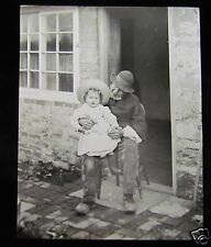 Glass Magic Lantern Slide BLESS HIS LITTLE HEART C1910 L121 MAN WITH BABY