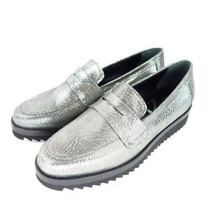 Susy-Ladies-Loafers-Low-Shoes-Fish-City-37-Silver-Leather-Slippers-Np-219-New