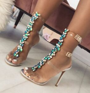 641ae73166d Details about Rhinestone Transparent High Heels Stiletto Crystals T-Strap  Sandals Ladies Shoes