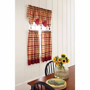 Genial Red Green Yellow Tan COUNTRY PLAID Kitchen Curtains
