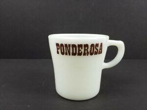 Vintage-Pyrex-Ponderosa-Restaurant-White-Milk-Glass-Mug-Coffee-Cup