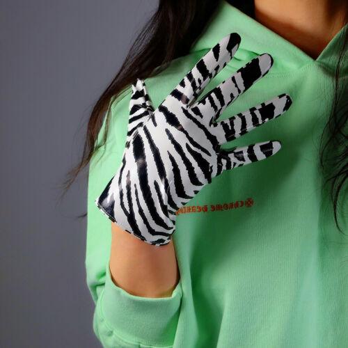 "LATEX LONG GLOVES Shine Leather PU 28/"" 70cm Animal Print Black White Tigar Zebra"