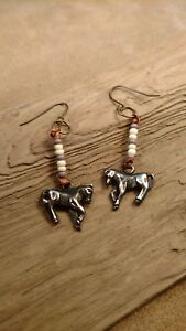 Beaded-Horse-Earrings-Pot-Metal-Glass-Beads-copper-wire-hangers-NEW