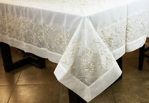 Rectangle-dentelle-brodee-or-Nappe-Serviettes-Mariage-Fete-Banquet-Event