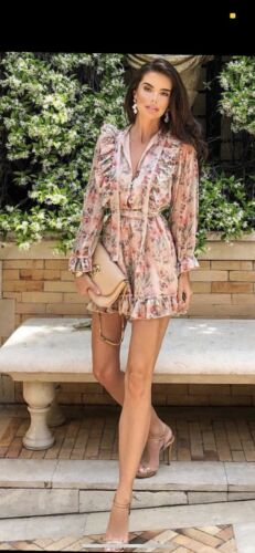 Zimmerman Style Floral Pink Ruffle Romper