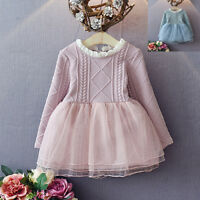 Girls Long Sleeve Wedding Occasion Party Baby Pink Summer Dress Kids Clothes