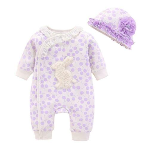 2pcs Autumn Baby Girls Clothes Set Long Sleeve Wave Point Lace Romper+Hat Suit