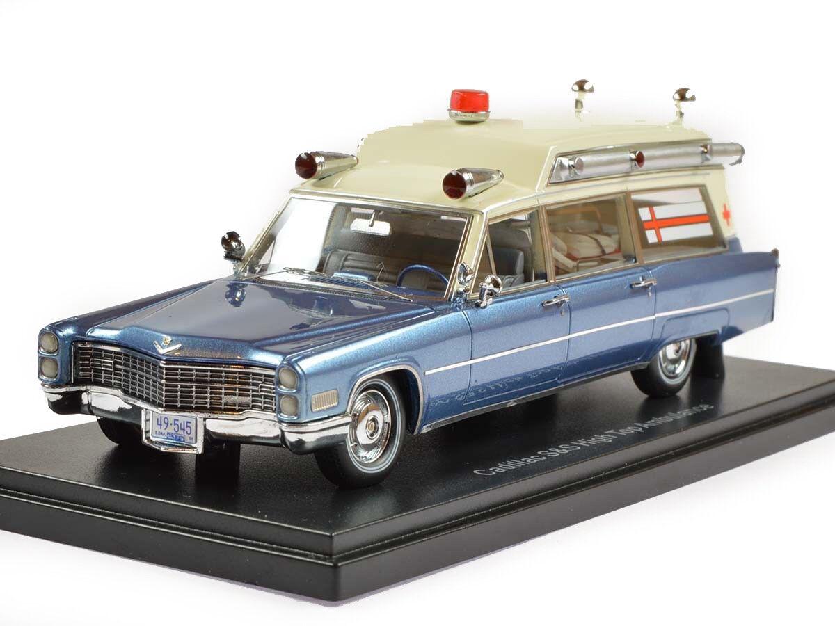 Cadillac S&S High Top Ambulance Metallic bluee White White White 1966 NEO49545 1 43 c2b26e