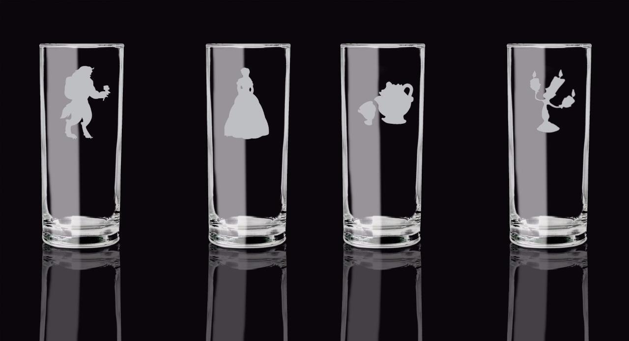 Beauty and the Beast Set de 4 whisky soda verre dépoli design .15