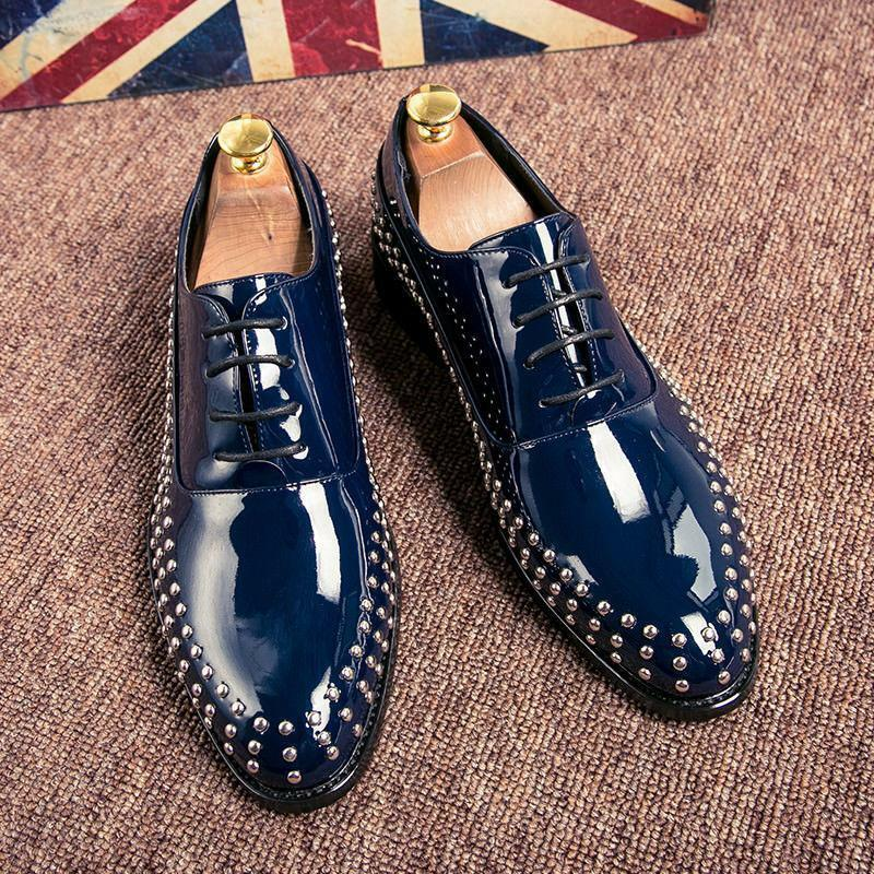 Vogue retro Mens Lace Up Point Toe Rivet Casual party NightClub Dress shoes