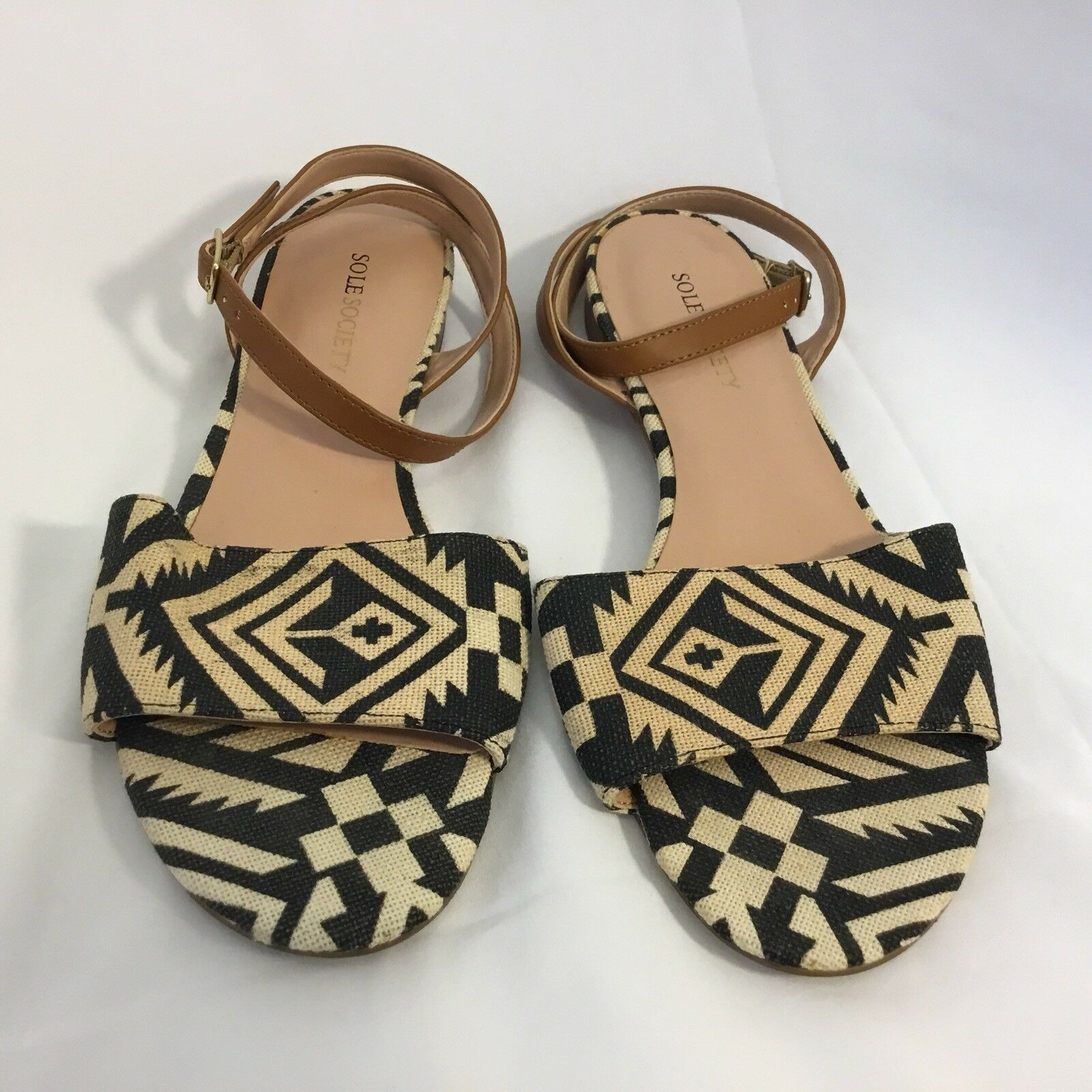 Sole Society Ankle Strap Open Toe Flats - 7 1 2B