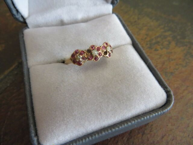 Antique Georgian /Victorian 10 k solid gold Ruby /Seeds Pearls Ring size 7.5