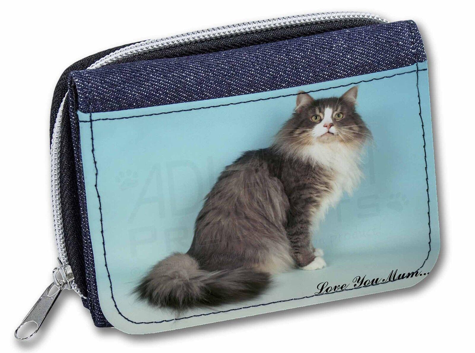 Norwegian Forest Cat 'Love You Mum' Girls/Ladies Denim Purse Wallet , AC-54lymJW