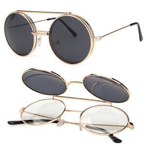 Cool Flip Up Lens Steampunk Vintage Retro Style Round Sunglasses ... 95f8c52fff4c