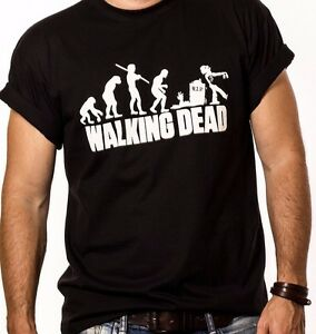 Evolution-of-Men-The-Walking-Dead-Inspired-T-Shirt-White-Print-Funny-Top-Tee