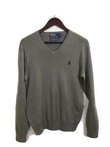 Brand-New-Mens-Gray-Ralph-Lauren-Polo-V-Neck-Sweater-Size-Small