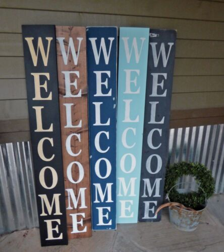 LARGE Farmhouse WELCOME sign vertical FRONT PORCH entry sign CUSTOM sign
