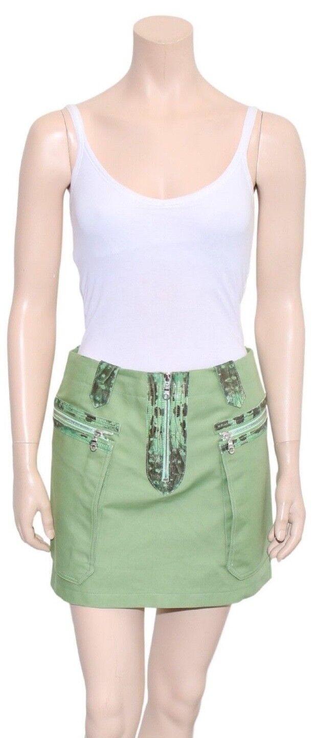 KENZO Grün Leather Detail Skirt (Größe 36)