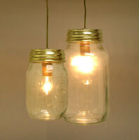 Mason Jar Hanging Light Kit With 8' Gold Cord And Bulb By Pld