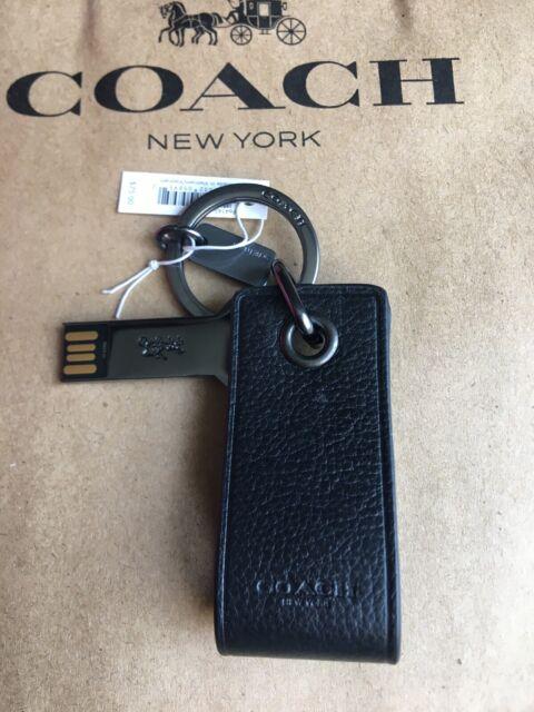Coach Black Leather 4 GB USB Storage Key Chain Fob F64143 NWT