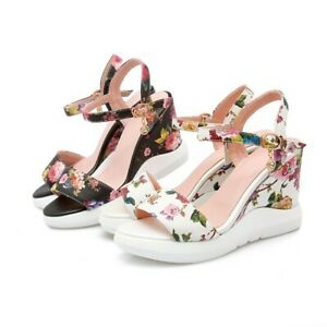 Women-039-s-Floral-Wedge-High-Heel-Ankle-Strap-Open-Toe-Slingbacks-Sandals-Shoes-New